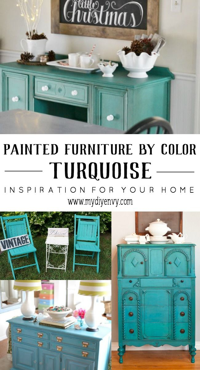 Turquoise painted furniture to add a pop of color to your home decor. | www.mydiyenvy.com