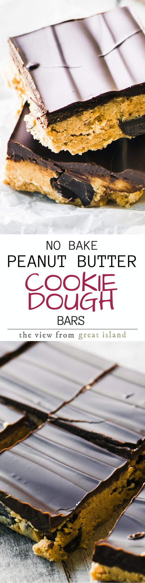 No Bake Peanut Butter Chocolate Chip Cookie Dough Bars ~ these easy bars are a cookie dough lover's dream come true. There are no eggs in the recipe, and the flour is microwaved to kill any potential bacteria. | dessert | blondies | brownies | cookies |