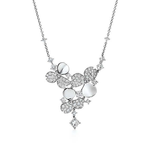 Tiffany Paper Flowers Diamond Cluster Drop Necklace In Platinum