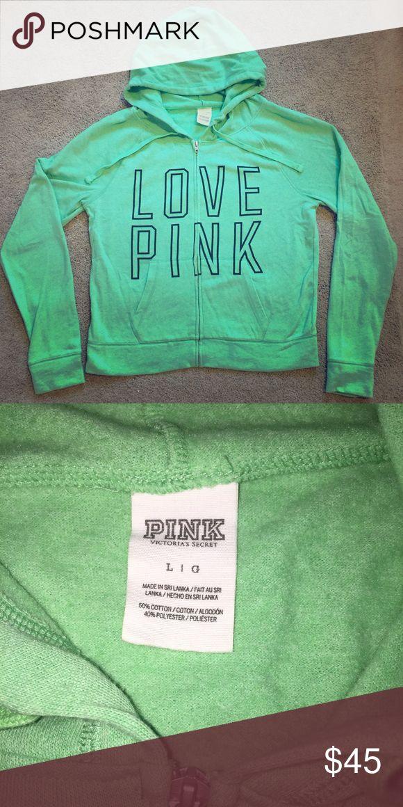 PINK zip up hoodie Green VS Pink zip up. Size L. Never worn PINK Victoria's Secret Tops Sweatshirts & Hoodies