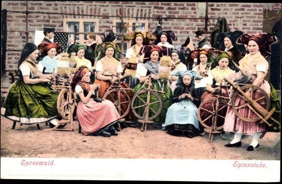 Postcard Spreewald, Spinnstube, Frauen in Trachten, Spinnräder