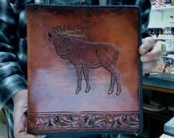 Photo Album / Leather / Man / Note Book / Organizer / Custom / Hand Carved and Tooled / Hand Made / Binder / Wildlife / Moose / Elk / 3 ring