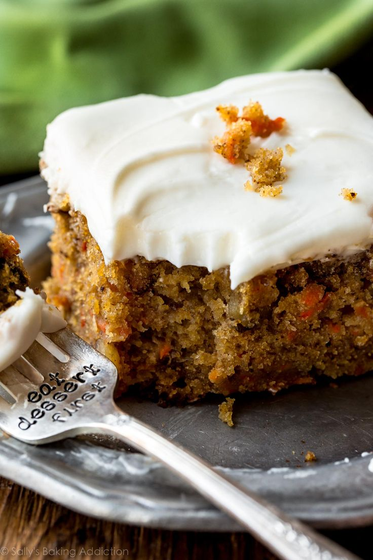 Super moist and spiced pineapple carrot cake with cream cheese frosting on sallysbakingaddiction.com