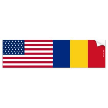 American & Romanian Flags Bumper Sticker - sticker stickers custom unique cool diy