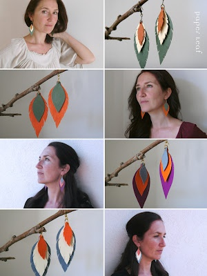 Plume - Earrings made colorful Canson cardstock