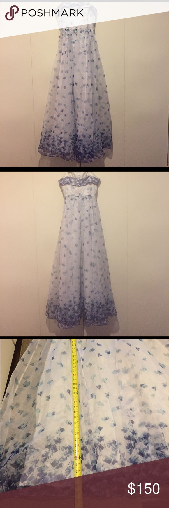 Adrianna Papell Strapless Organza Dress Size 14 Adrianna Papell Strapless Organza Long Dress Size 14 - purple floral, new with tags, never worn. See pictures for measurements, reasonable offers accepted 😊 Adrianna Papell Dresses Strapless