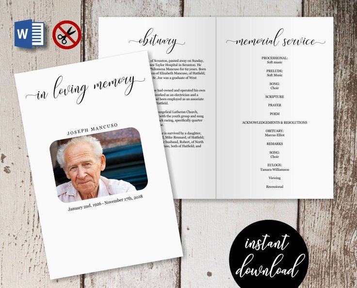 Funeral Program Template -  Printable Memorial Service Pamphlet - Order of Service Bulletin - Editable Word Instant Download Folded Booklet by InstantInvitation on Etsy https://www.etsy.com/listing/592310919/funeral-program-template-printable