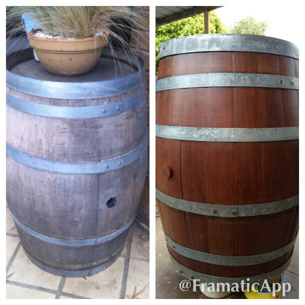 Very old wine barrel restoration . Huge difference. Sat in my customers shed for over 12 years