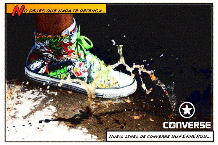 """Retoque fotográfico estilo cómics para afiche publicitario de zapatillas """"Converse DC Comics"""""""