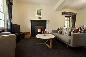 Our inviting lounge room, the fire's lit.