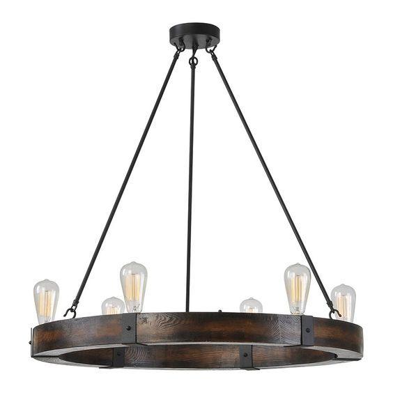 Ren-Wil LPC089 Sergio 6 Light Round Chandelier in Wood and Iron
