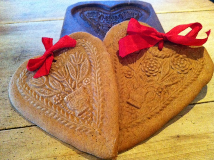 Gingerbread hearts made in old German wood mold.