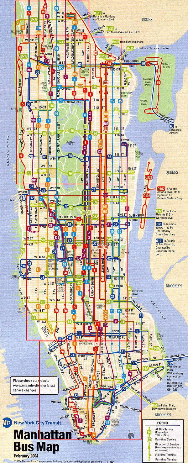 City of New York New York Map MTA Bus Map