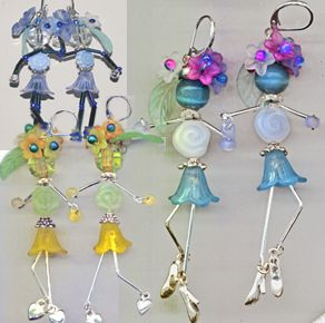"""Cute flower-skirted dancers with bugle bead legs dangle and """"dance"""" Flower beads have become the skirts, leaves, tiny buds and blossoms adorn the head, spiral glass coin bead torso and long bugle bead legs. Available as a kit or a project sheet."""