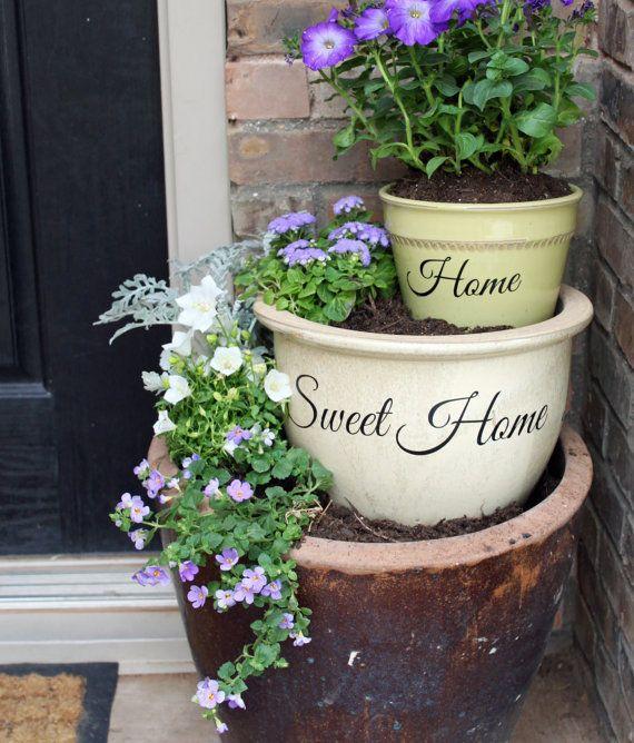 DIY Flower Pot Vinyl Decal Set / Home Sweet by LittleAcornsByRo, $5.99