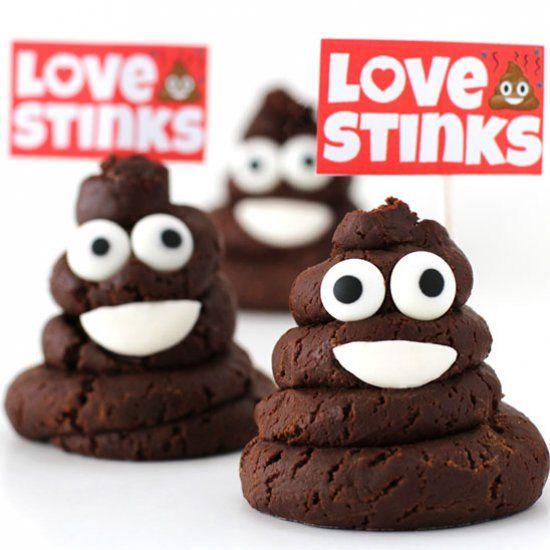 Chocolate Caramel Fudge Smiling Poo Emoji with printable Love Stinks Signs. Poke fun at Valentine's Day.