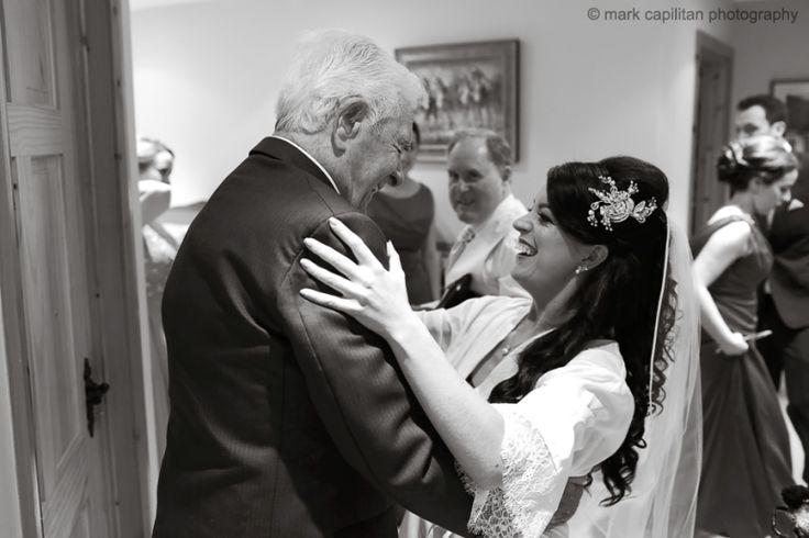 A bride hugs her grandfather wedding photography sligo