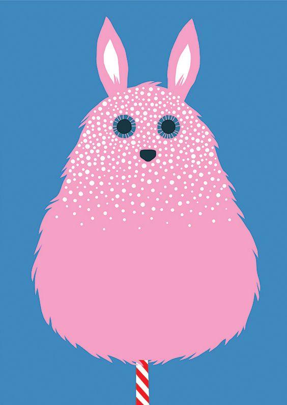 #illustration #finnish #leenakisonen #sweet #candy #pink #cottoncandy #bunny #flatcolor