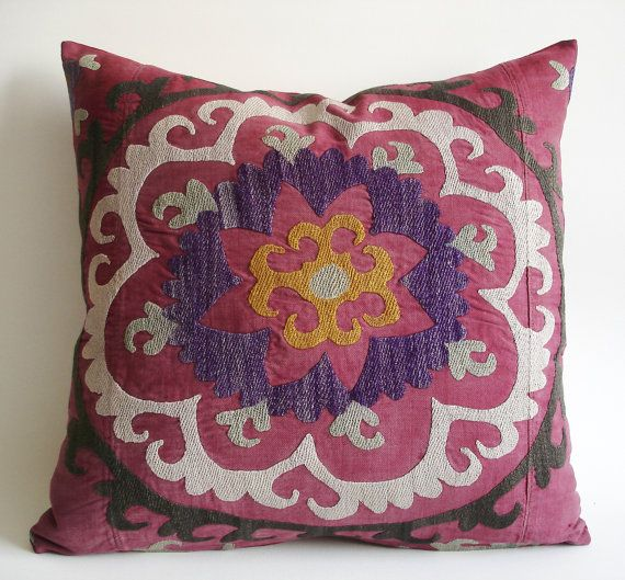 Sukan / Vintage Hand Embroidered Silk Suzani Pillow Cover - 20x20 inch Purple, Yellow, Soft Green, Egg Yellow, Beige, Black, Dirty Red Color