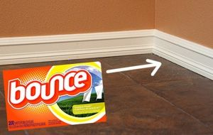 Keep baseboards clean with Fabric Softner!  A dryer sheet to dust can help in many ways. Not just because it kicks the dust to the curb since it banishes static, but because it actually coats as it cleans for residual dust-fighting power.    When used on your baseboards it can not only help repel pet hair, but general keep the things that get tracked in and out of our home off the walls and on the floor.