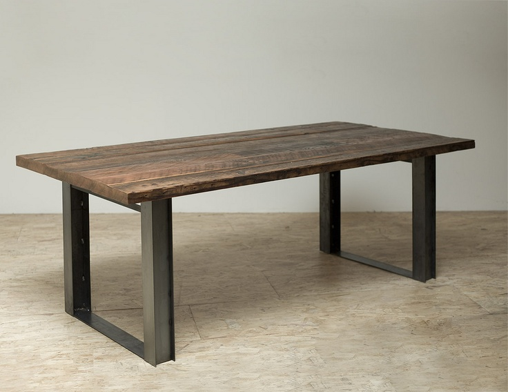 Create our own i beam and reclaimed wood dining table for Reclaimed wood beams los angeles