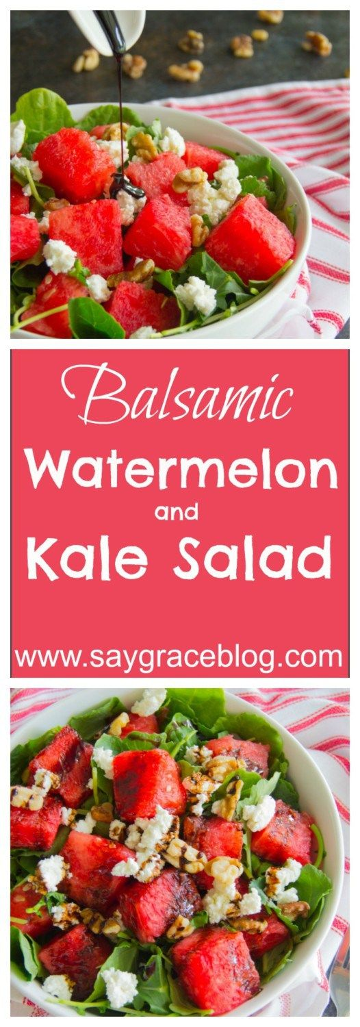 This delicious summer salad combines summer sweet watermelon, tender baby kale, tangy goat cheese, crunchy walnuts and a balsamic reduction hits the refreshing spot!!