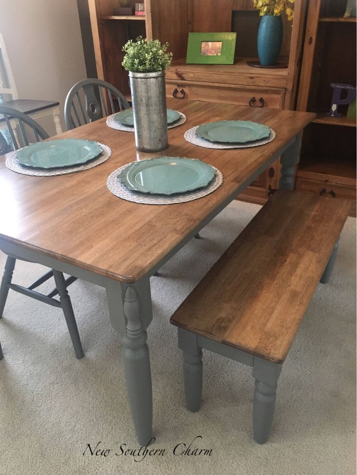 Sold Farmhouse Table With Bench Bench And 2 Chairs Included
