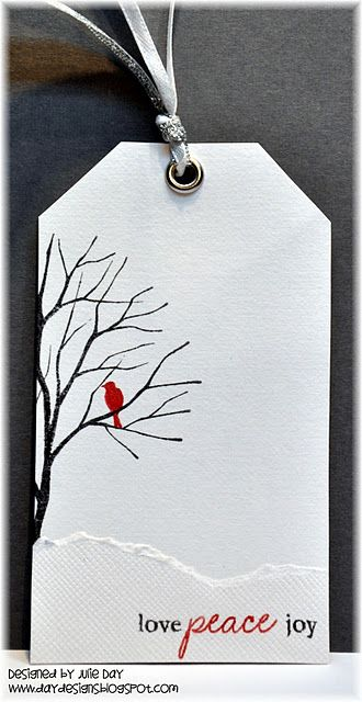 This tag is beautiful in its simplicity. You can reuse old Christmas cards to make tags like these. Just with a different picture. Way to recycle!