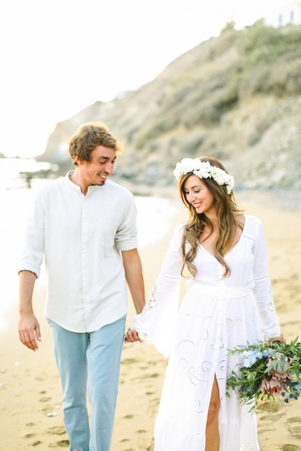 Greek island wedding -Maria & Nikos botanical-bohemian wedding in Greece   Tie the knot in Santorini- Weddings & Events in Greece