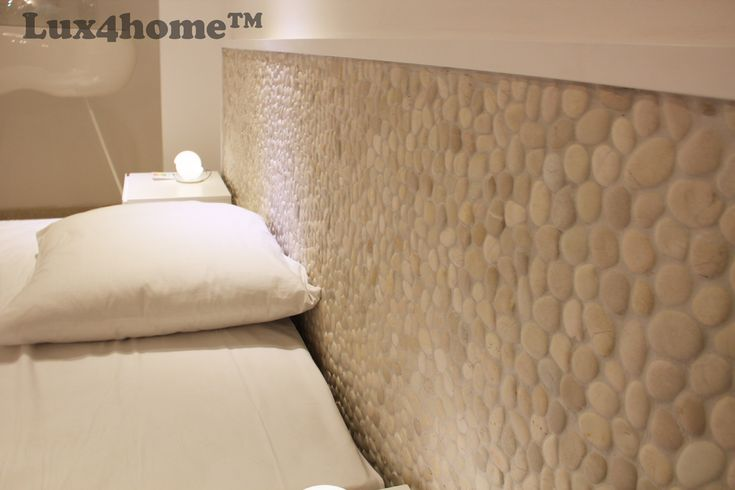 So far you might have seen #pebbles on #bathroom #walls and #floors. Now have a look how nice and cozy your #bedroom might be with #pebbleTiles behind your #bed. These are #WhitePebble #tiles called White Timor 30x30cm made by #Lux4home™
