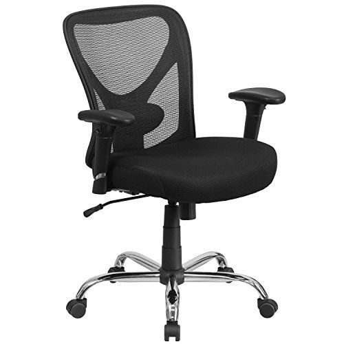 Discounted Flash Furniture HERCULES Series Big & Tall 400 lb. Rated Black Mesh Swivel Task Chair with Height Adjustable Back and Arms