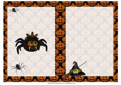 Spooky Spiders Halloween Insert on Craftsuprint designed by Jean Gordon - An ideal insert for Halloween cards with spiders, pumpkins, witches hat and broom. - Now available for download!