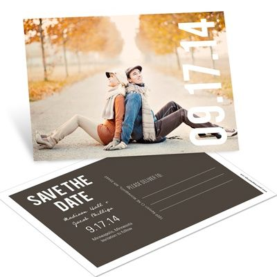 Big Date Horizontal Photo -- Save the Date Postcards... Something like this could be really cute! Maybe with a different pose though