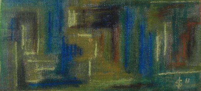 Bruniquel II | acrylverf en pastelkrijt op papier op mdf | ca  58 x 28 cm | © Irka Stachiw  #art #painting #landscape #irkastachiw