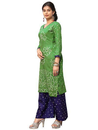 336c7f0c1e Green Cotton Bandhani Dress Material   A-ValueStore in 2019 ...