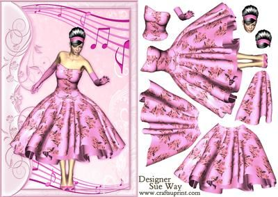 1950s Rock and Roll Beauty in the Pink Decoupage