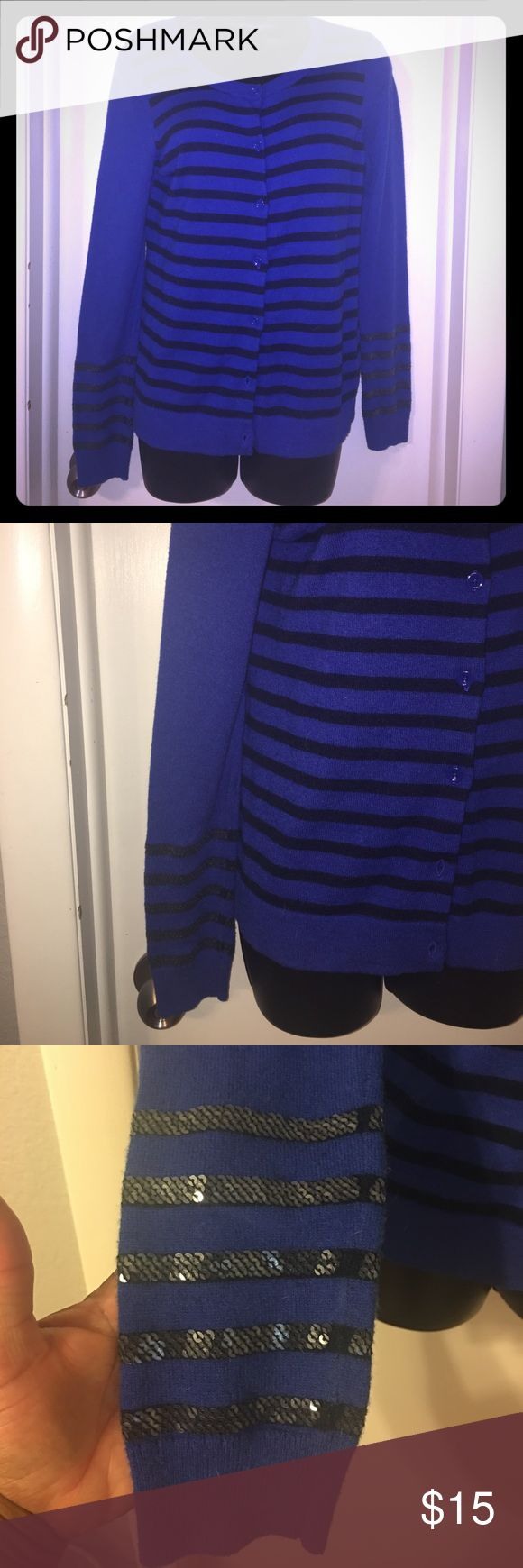 Gap buttons down sequined Cardigan Royal blue and black Gap Cardigan, gently worn.  Perfect for work, school or church. Add it to your closet asap GAP Sweaters Cardigans
