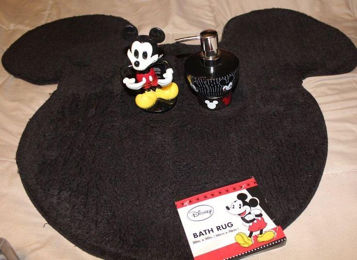 Disney Mickey Mouse Soap Lotion Dispenser Toothbrush Holder Bath Mat Rug Set Disney Mickey Disney Mickey Mouse Disney Home