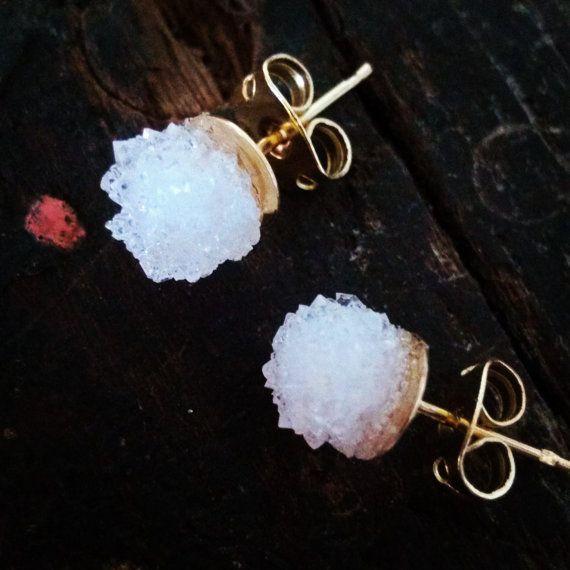 Geode Quartz Natural Crystal Druzy Earrings  Boho Chic Wedding Raw Stone Jewelry