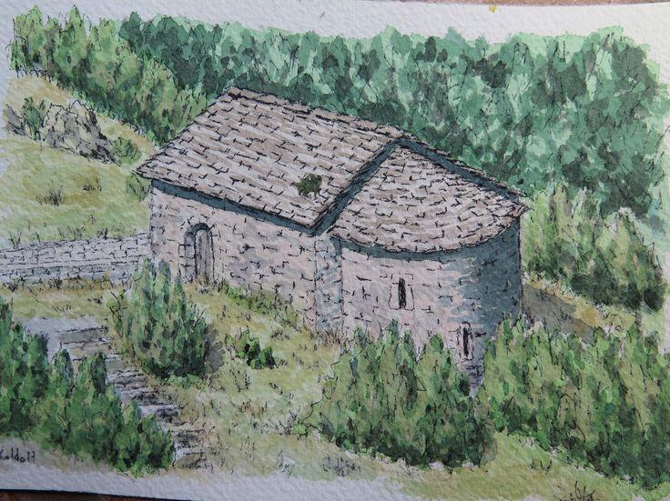 Ermita de San Juan y Pablo S. XI en Tella Pirineos de Huesca Acuarela papel Arches 300 gr. 13 x 18