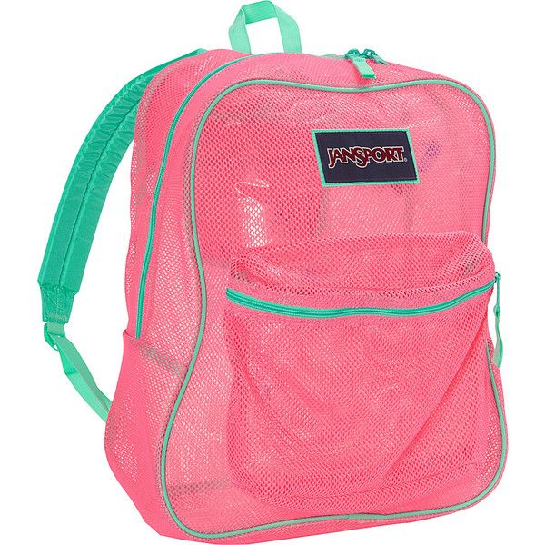 JanSport Mesh Pack- Discontinued Colors - Fluorescent Pink - School... ($30) ❤ liked on Polyvore featuring bags, backpacks, pink, fluorescent backpack, jansport daypack, jansport rucksack, jansport and neon pink backpack