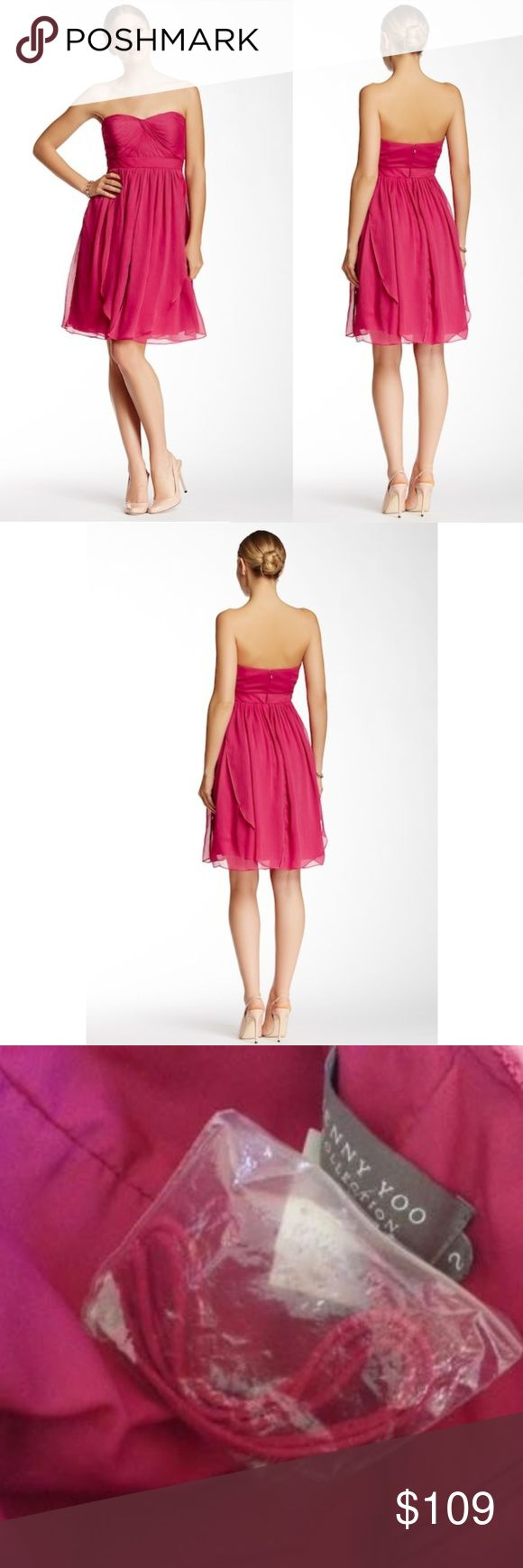 """NEW Jenny Yoo Keira Luxe Crinkle Chiffon Dress NWT Jenny Yoo Keira Luxe Crinkle Chiffon Dress. A knotted twist shapes the pleated sweetheart bodice of a strapless chiffon dress designed with long panels that can be artfully wrapped and tied around the bodice to create more than 15 elegant looks. Size 2 Color Pink Approximate measurements are Bust 33"""", Waist 26"""", & Length 31"""" Hidden back zip with hook-and-eye closure Fully lined, with padded cups and boning in bodice Tulle crinoline in skirt…"""