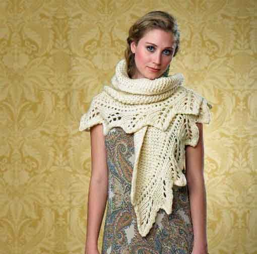 Learn these knitting techniques: knitting a lace edging and attaching it to the body of a knit shawl.