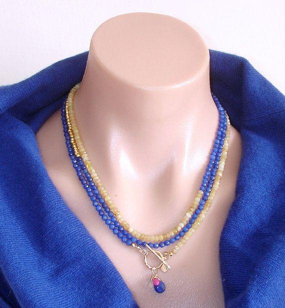 Ashira Yellow Welo Opal and Lapis Lazuli Gemstone Statement Necklace with Charms