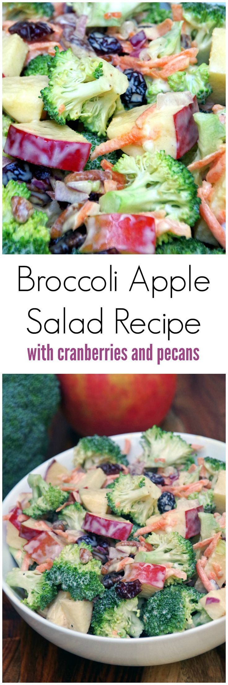 This broccoli apple salad recipe is easy to make with plenty of crunch.  No bacon so it is a great meatless salad recipe