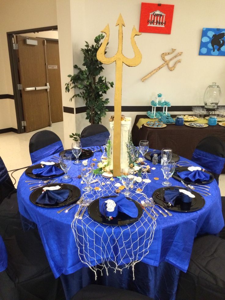God Poseidon table decoration. Percy Jackson Elegant table  senior serve