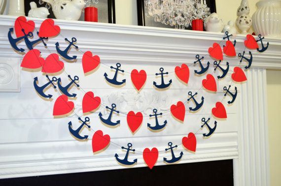 Anchor garland anchor bridal shower red heart by DCBannerDesigns