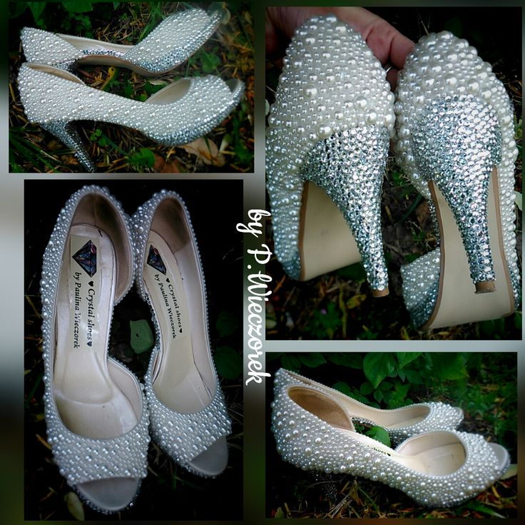 💒👰👠💎 Ślubne buty dla Ani. Perełki ecru i srebrne cyrkonie. W 100% rękodzieło. Buty zdobione na zamówienie. Idealne buty na ślub, wesele, studniówkę, sylwester czy inną okazje.        Wedding shoes for Ania. Pearls ecru and crystal rhinestones. 100% handmade. Shoes on orders.The perfect shoes for a wedding, prom, New Year or any other occasion.