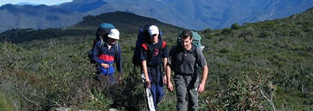 Outdoor Education. Lake Tuggeranong College students hiking in the Budawang National Park.