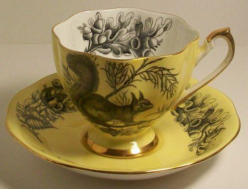 Queen Anne Fine Bone China England Yellow Porcelain Tea Cup Saucer Squirrel | eBay: